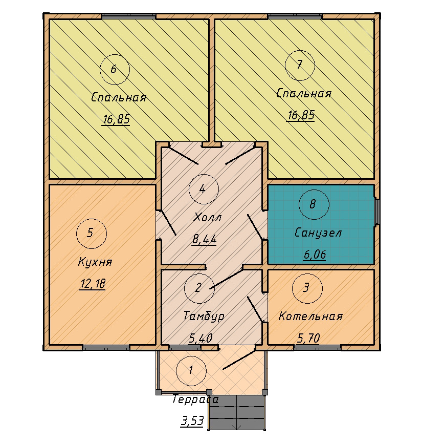 план дома секционного типа
