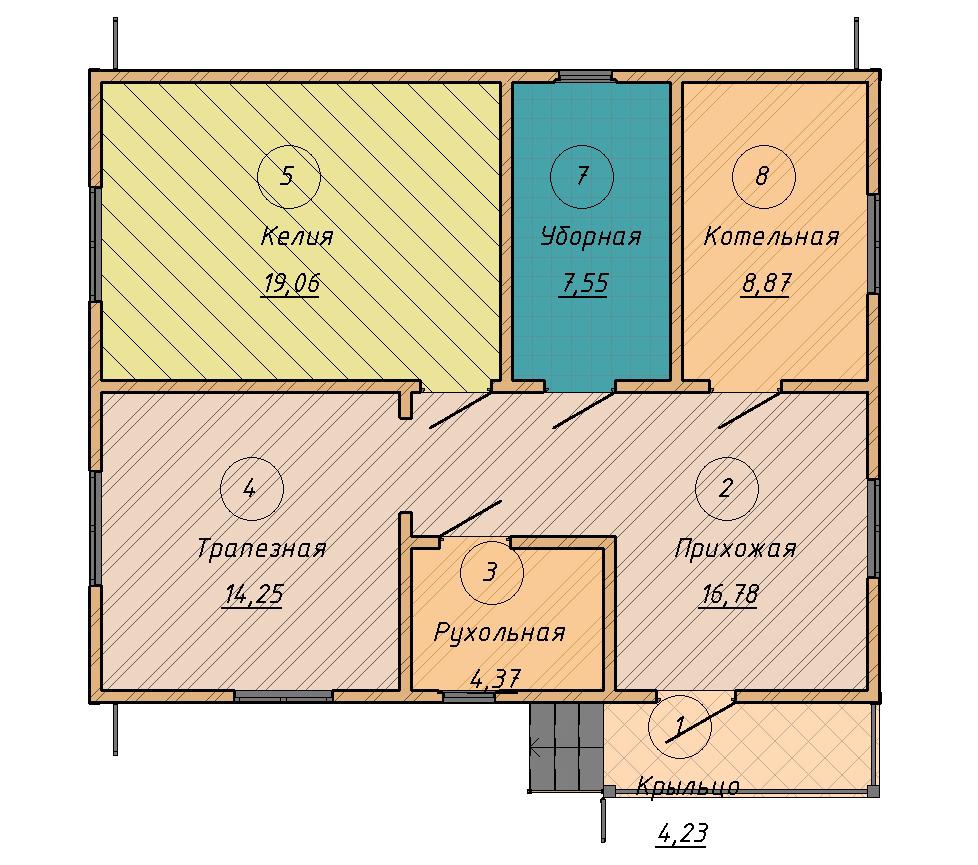 план дома с центральной несущей стеной